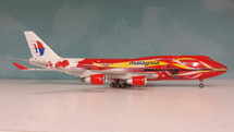 Malaysian B747-400 Hibiscus 9M-MPB LTD 100 MODELS w/ Stand and Gears