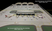 Two-Sided Mat: 1:400 Scale 2-Piece Airport Mat Set Taxiway, Runway and 1:200 Scale Airport Runway Taxiway