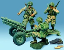 101st Airborne Pak Howitzer/w ( 3 figs + arty shells ) 70MM SCALE
