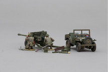 British 6 Pounder, Mickey Mouse pattern Bantam Jeep and Two British Guards crew figures