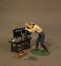 German Mechanic with Fokker DVII Engine, Knights of the Skies Collection, WWI (4pcs)