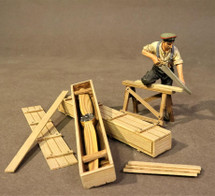 German Carpenter with Saw, Knights of the Skies, single figure and five accessory pieces