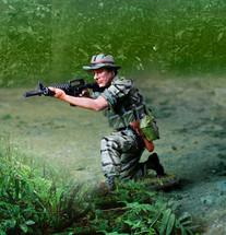 Vietnam LRRP Firing CAR15 Figure