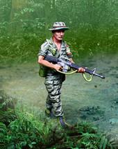Vietnam LRRP Advancing Figure