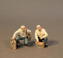 Flight Deck Medical Team, U.S.S. Bunker Hill, WWII, two figures, Bunker Hill Collection