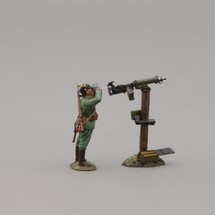 German Infanteer in Pickelhaube Helmet Using Binoculars with mounted Maxim machine gun, single figure with machine gun