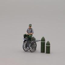 Hitlerjugend Soldier Sitting on Shell Trolley, single figure, trolley, two howitzer shells
