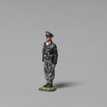 12th SS Panzer Division NCO wearing traditional black Panzer wrap jacket WWII, single figure