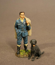 Spitfire Pilot with Labrador, The Royal Airforce, The Second World War, single pilot figure and single dog figure