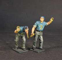 Two Plane Handlers Pushing, Aircraft Carrier Flight Deck Crew, U.S.S. Bunker Hill, WWII, Two Figures