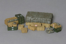 Battlefield Supplies and Accessories with German Decals applied, WWII