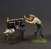 German Groundcrew and Accessories, German Mechanic with Fokker DVII Engine., Knights Of The Skies, 2 pieces