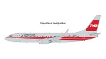 American Airlines B737-800(W) TWA Heritage Livery, Flaps Down, N915NN Gemini 200 Diecast Display Model