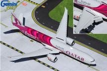"Qatar Airways 777-300ER, A7-BEB ""FIFA World Cup 2022"" Flaps Down Gemini 200 Diecast Display Model"