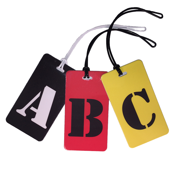 initial luggage tags upper case