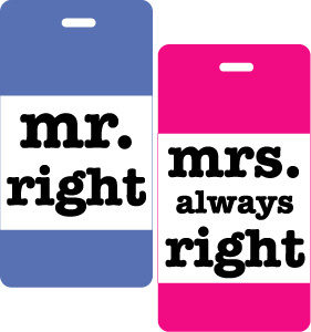 Mr & Mrs Right Luggage Tag 2pc Gift Set