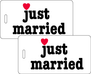 Just Married Honeymoon Luggage Tag Gift Set