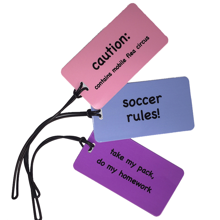 luggage tags for children in bright colors