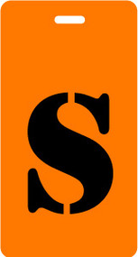 "Luggage Tag - Upper Case ""S"" - Orange/Black - Inventive Travelware"
