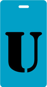 "Luggage Tag - Upper Case ""U"" - Turquoise/Black - Inventive Travelware"
