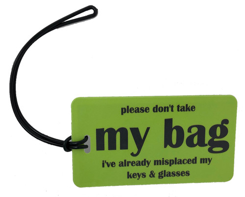 boomer luggage tag - lime green