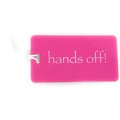 pink hands off luggage tag