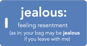 Jealous - Inventive Travelware luggage tag - Blue.