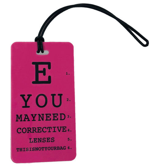 You may need corrective lenses - Inventive Travelware luggage tag - Fuchsia