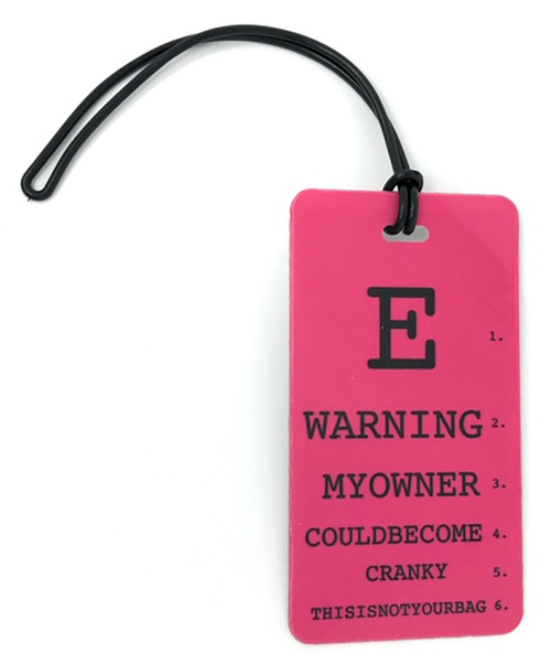 My owner could become cranky - Inventive Travelware luggage tag - Fuchsia