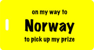 On My Way to Norway Luggage Tag - Yellow