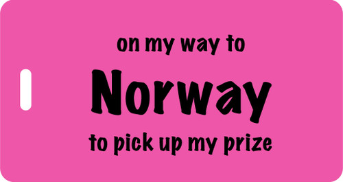 On My Way to Norway Luggage Tag - Fuchsia