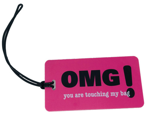 Fuchsia luggage tag - OMG! you are touching my bag  - Inventive Travelware