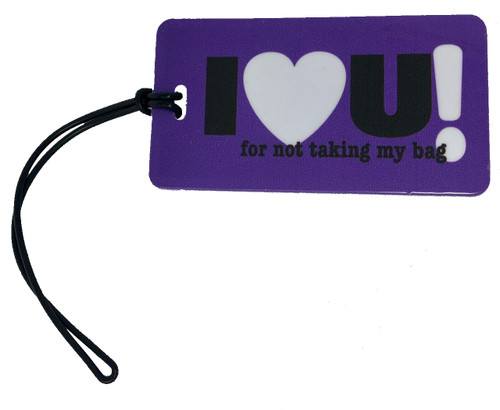"I ""Heart"" U luggage tag - Inventive Travelware- Grape"