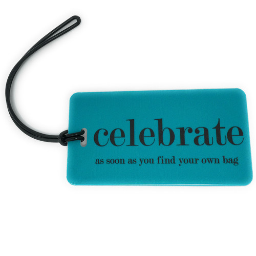 luggage tag - celebrate - aqua
