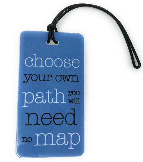 blue travel quote luggage tag