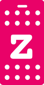 z - Polka Dot Luggage Tag - Fuchsia/White
