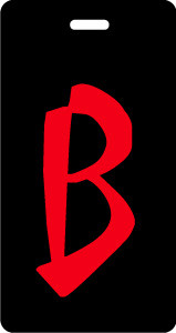 Initial luggage tag, red letter B in calligraphy font on black background.