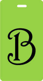 B - Script Letter Bag Tag - Lime/Black