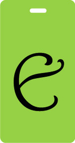 Monogram Luggage Tag - Letter E Script - Lime/Black Inventive Travelware