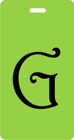 G - Script Letter Bag Tag - Lime/Black