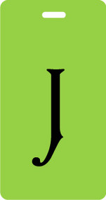 J - Script Letter Bag Tag - Lime/Black