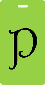 P - Script Letter Bag Tag - Lime/Black