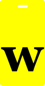 "Luggage Tag - Lower Case ""w"" Yellow/Black- Inventive Travelware"