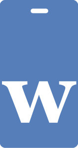 "Luggage Tag - Lower Case ""w"" Blue/White- Inventive Travelware"