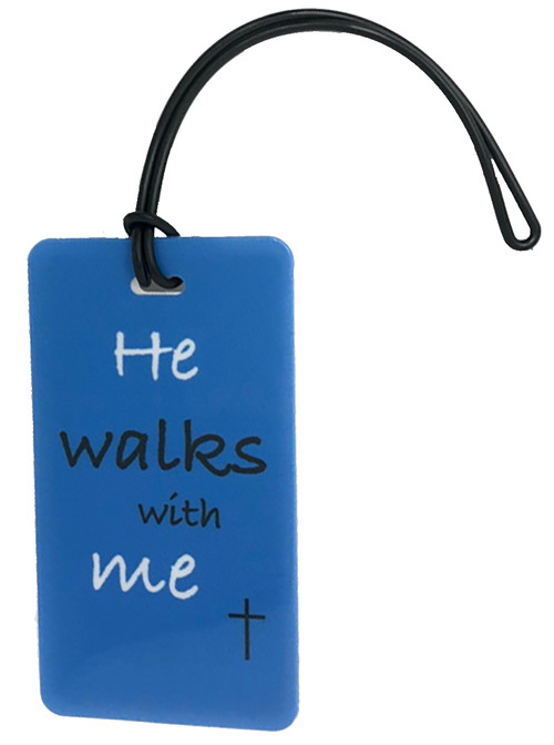 luggage tag - he walks with me - blue