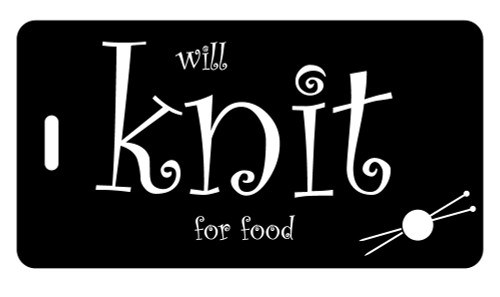Will Knit for Food - Bag Tag - Black