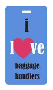 I Love Baggage Handlers Luggage Tag - Blue