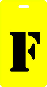 "Luggage Tag - Upper Case ""F"" - Yellow/Black - Inventive Travelware"