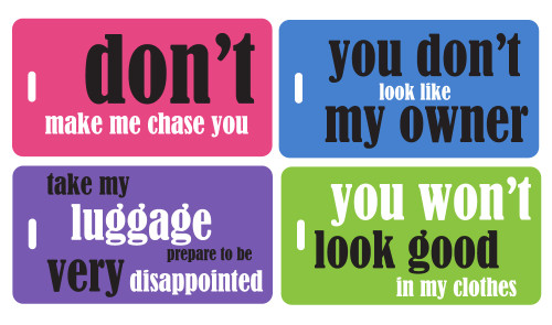 luggage tag gift set - 4 funny bright tags