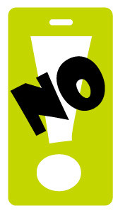 No! - luggage tag - lime green